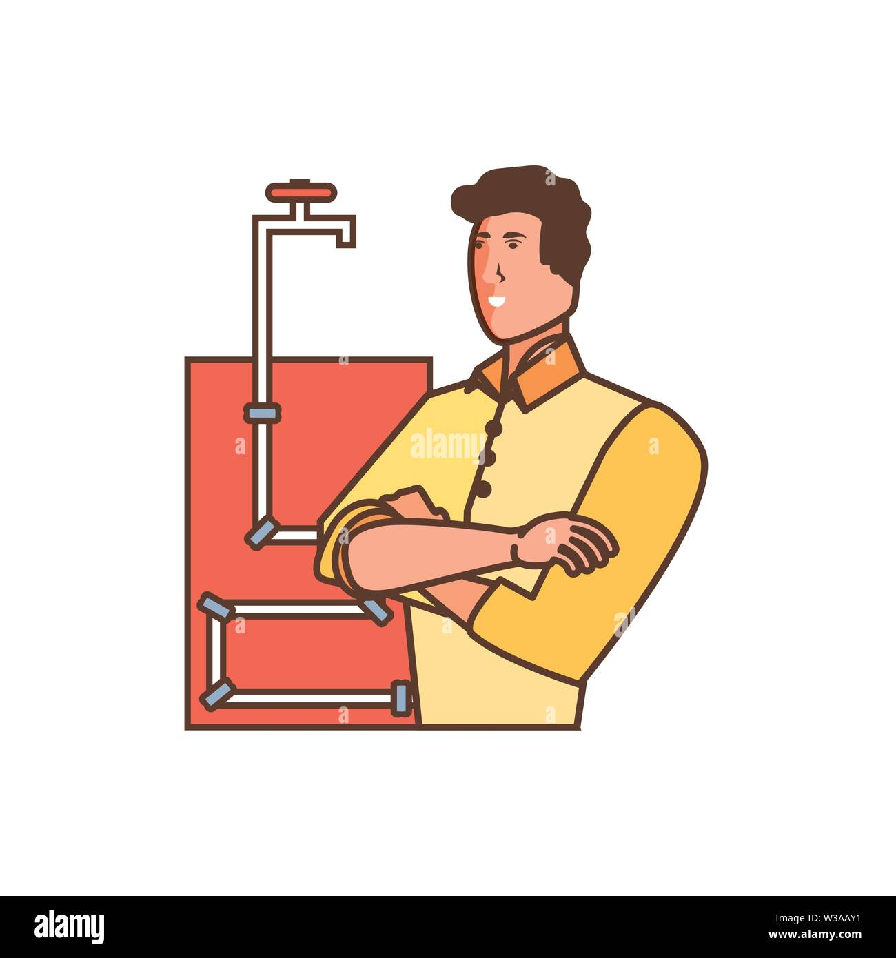 worker construction man with pipeline vector illustration design - Stock Image