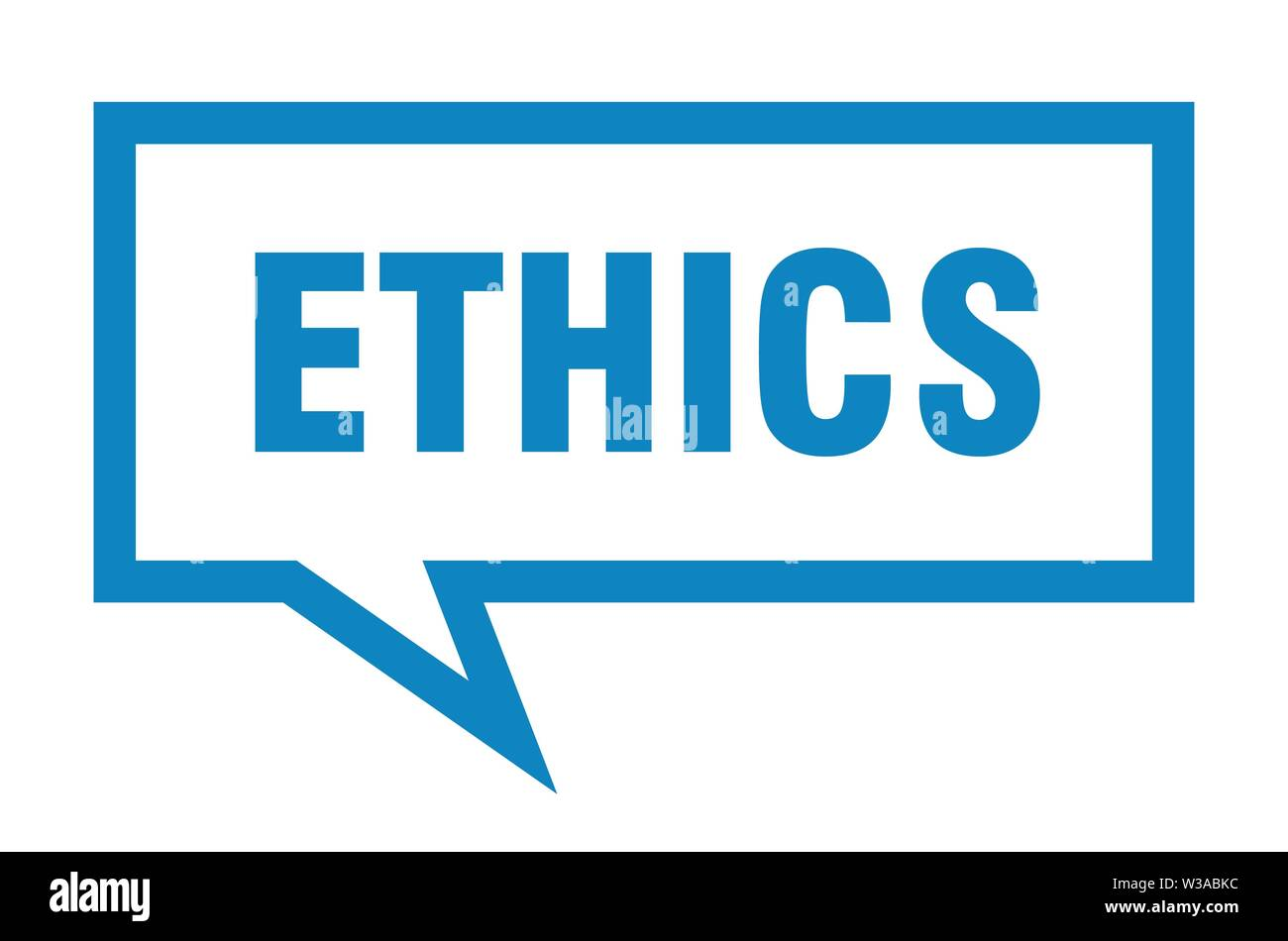 ethics sign. ethics square speech bubble. ethics - Stock Image