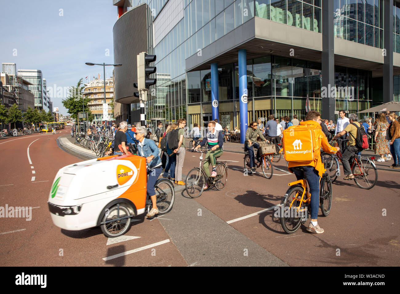 Utrecht, the Netherlands, bicycle traffic in the city center, 60% of Utrecht come by bike in the city, bike path, bike path, Vredenburg way, Stock Photo