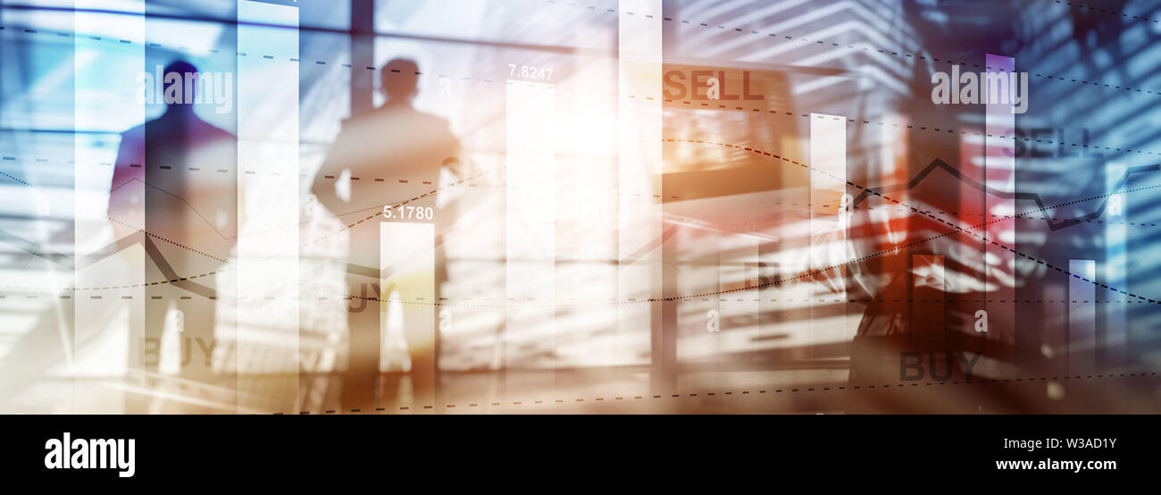 Website trading banner. Financial stock trading graph chart diagram business finance concept double exposure mixed media. Stock Photo