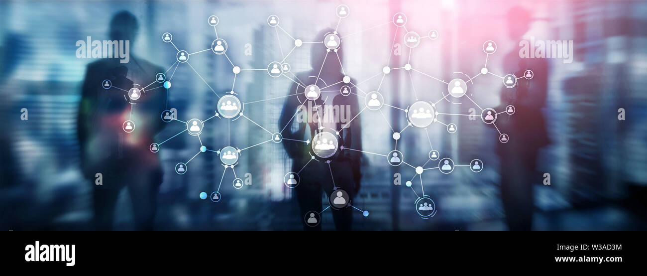 HR human resources management concept corporate organisation structure mixed media double exposure virtual screen - Stock Image