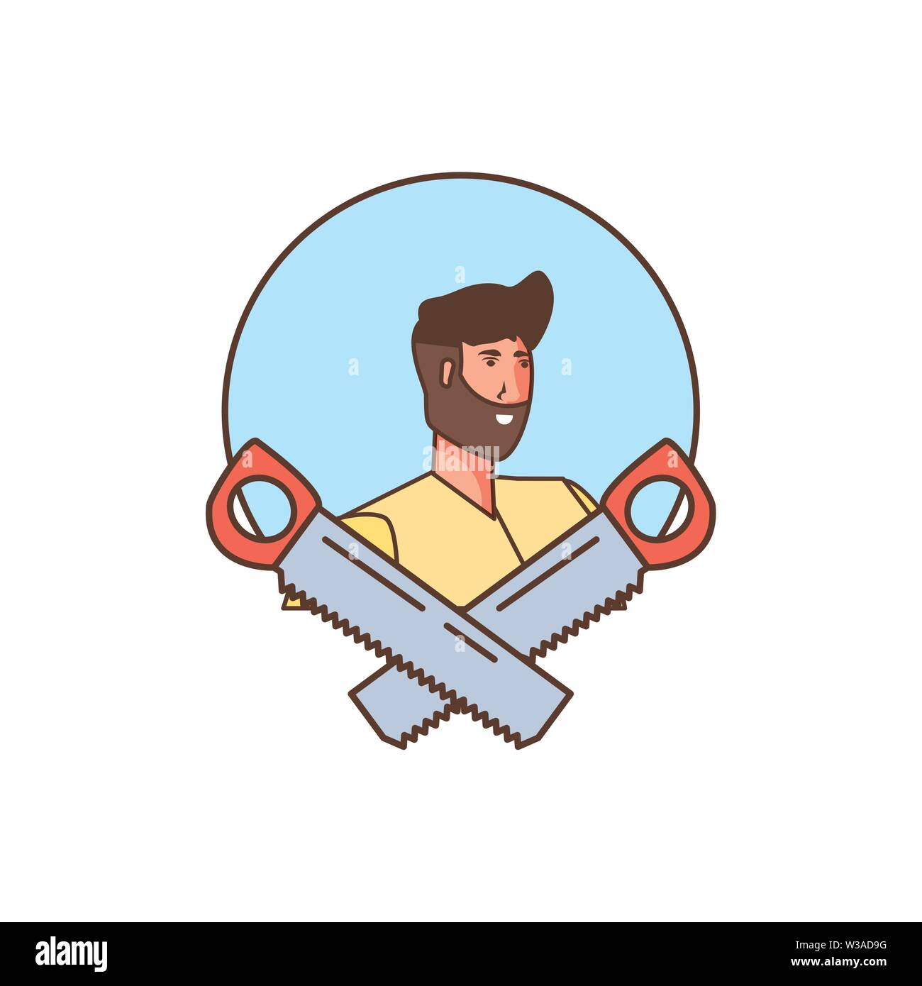 worker construction man with saws tools vector illustration design - Stock Image