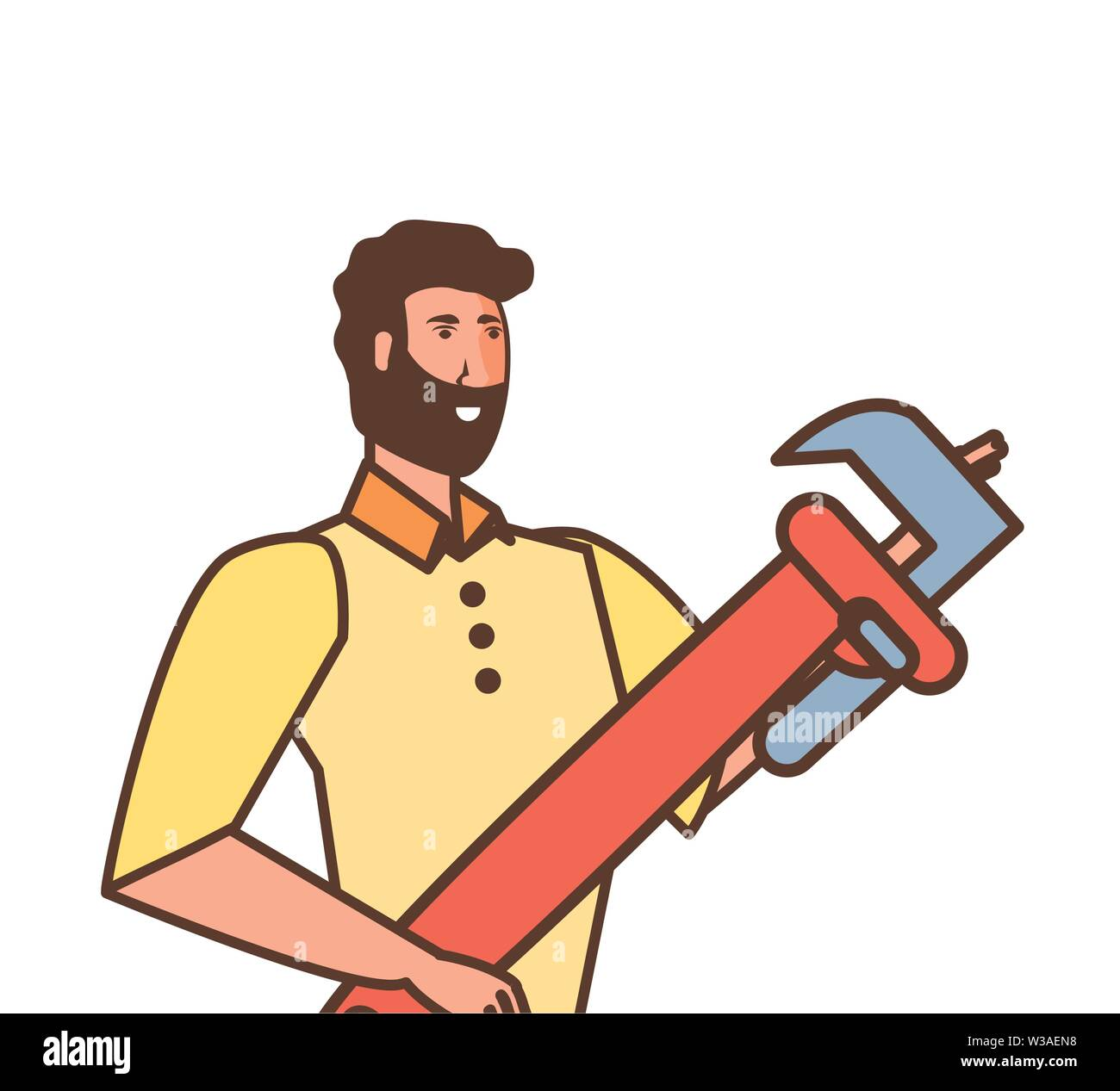 worker construction man with wrench tool vector illustration design - Stock Image