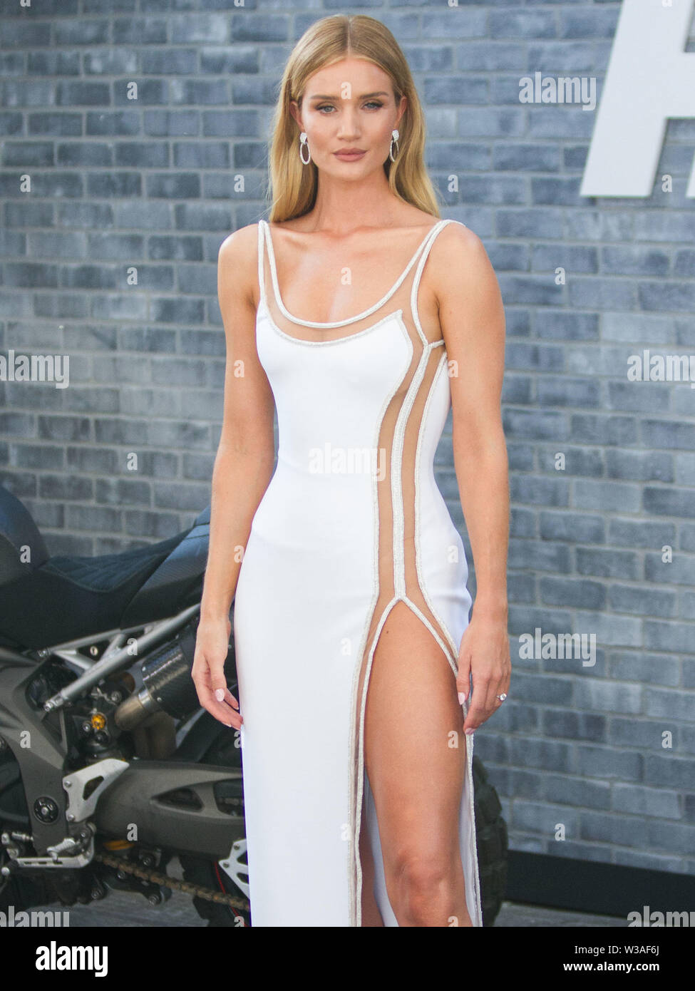 HOLLYWOOD, LOS ANGELES, CALIFORNIA, USA - JULY 13: Model Rosie Huntington-Whiteley arrives at the Los Angeles Premiere Of Universal Pictures' 'Fast & Furious Presents: Hobbs & Shaw' held at Dolby Theatre on July 13, 2019 in Hollywood, Los Angeles, California, USA. (Photo by Rudy Torres/Image Press Agency) Stock Photo