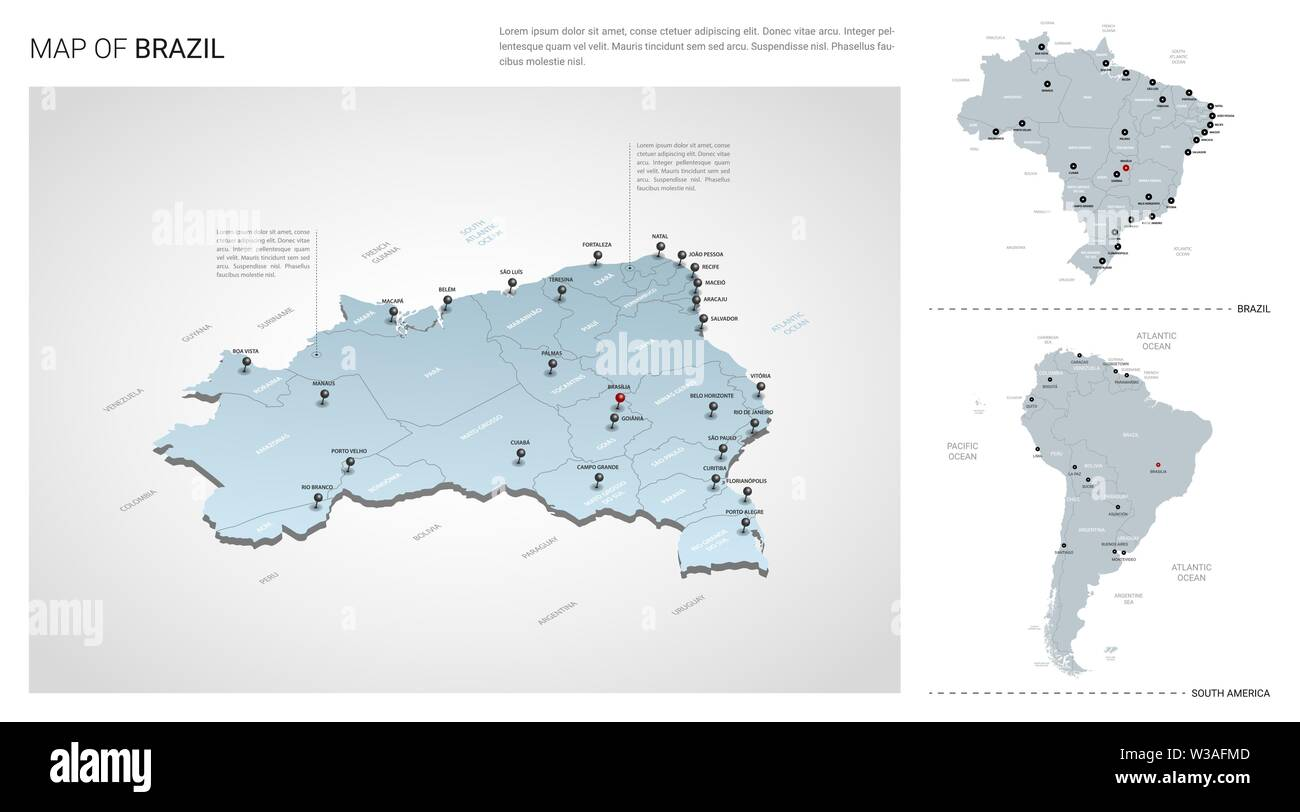 Vector set of Brazil country. Isometric 3d map, Brazil map, South ...
