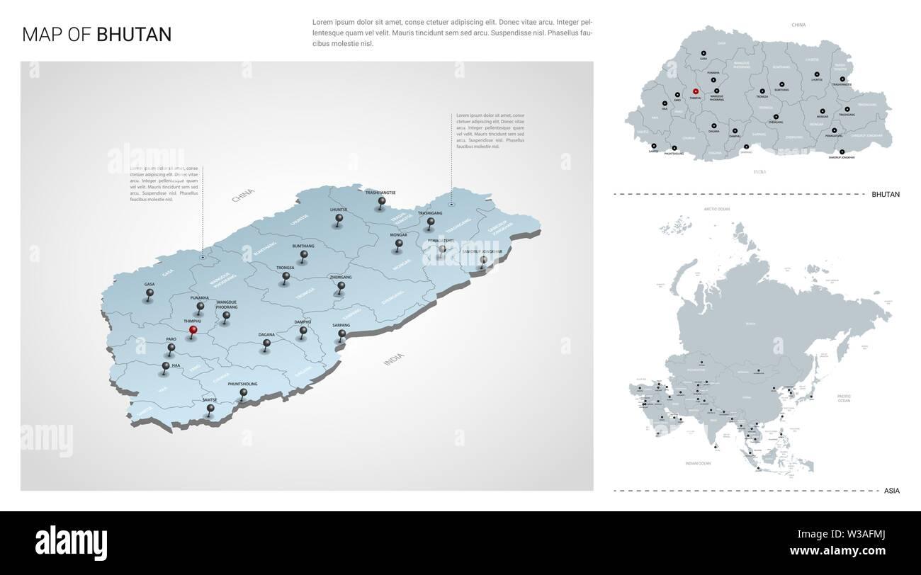 Vector set of Bhutan country. Isometric 3d map, Bhutan map ...