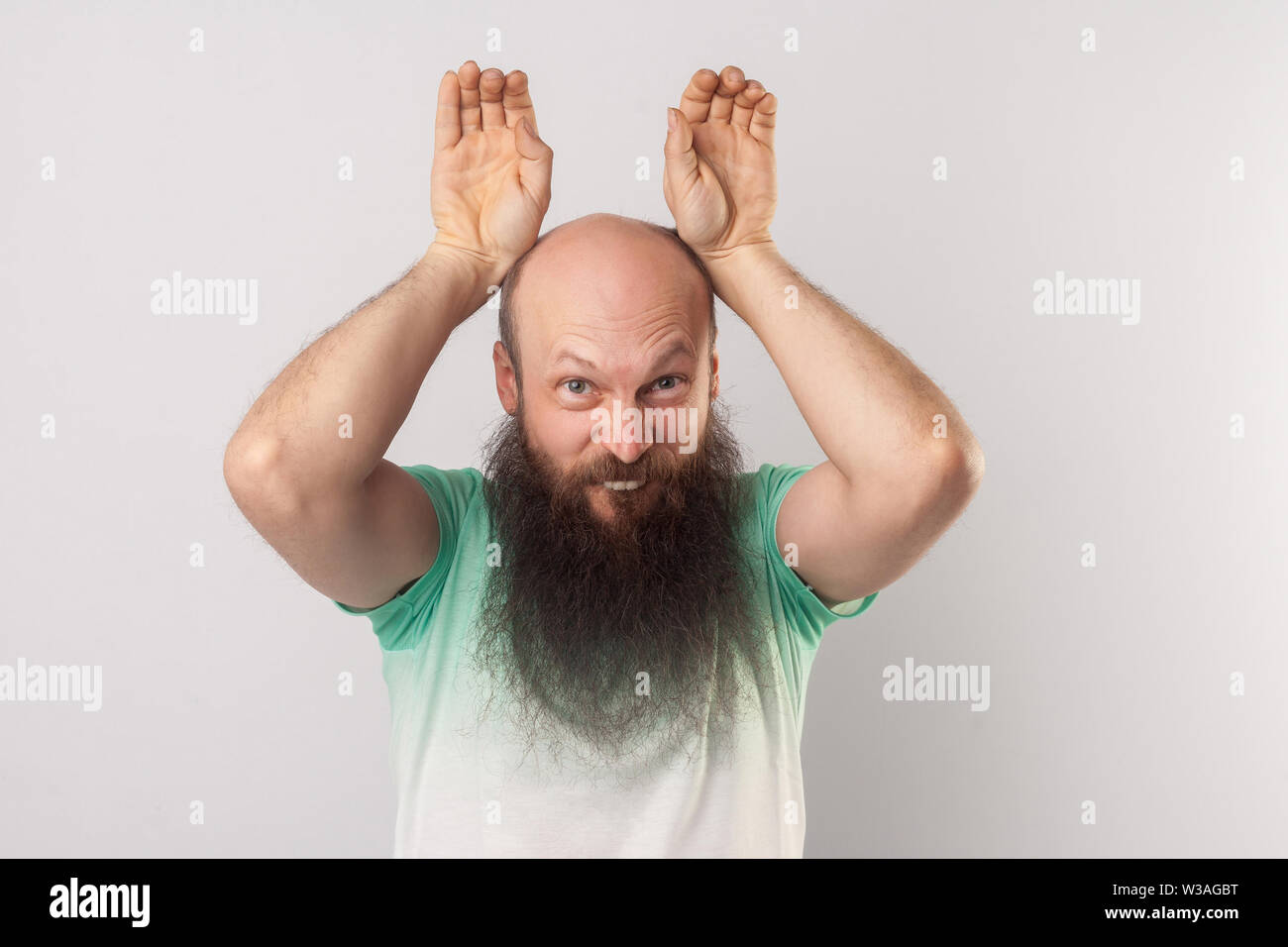 Portrait of funny crazy middle aged bald man with long beard in light green t-shirt standing with bunny ears gesture and looking at camera. indoor stu Stock Photo