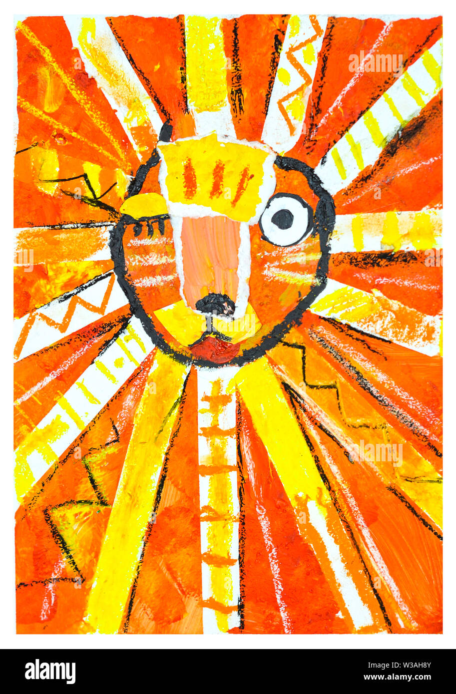 Eye Blinking Lion Abstract Painting Child Drawing Stock