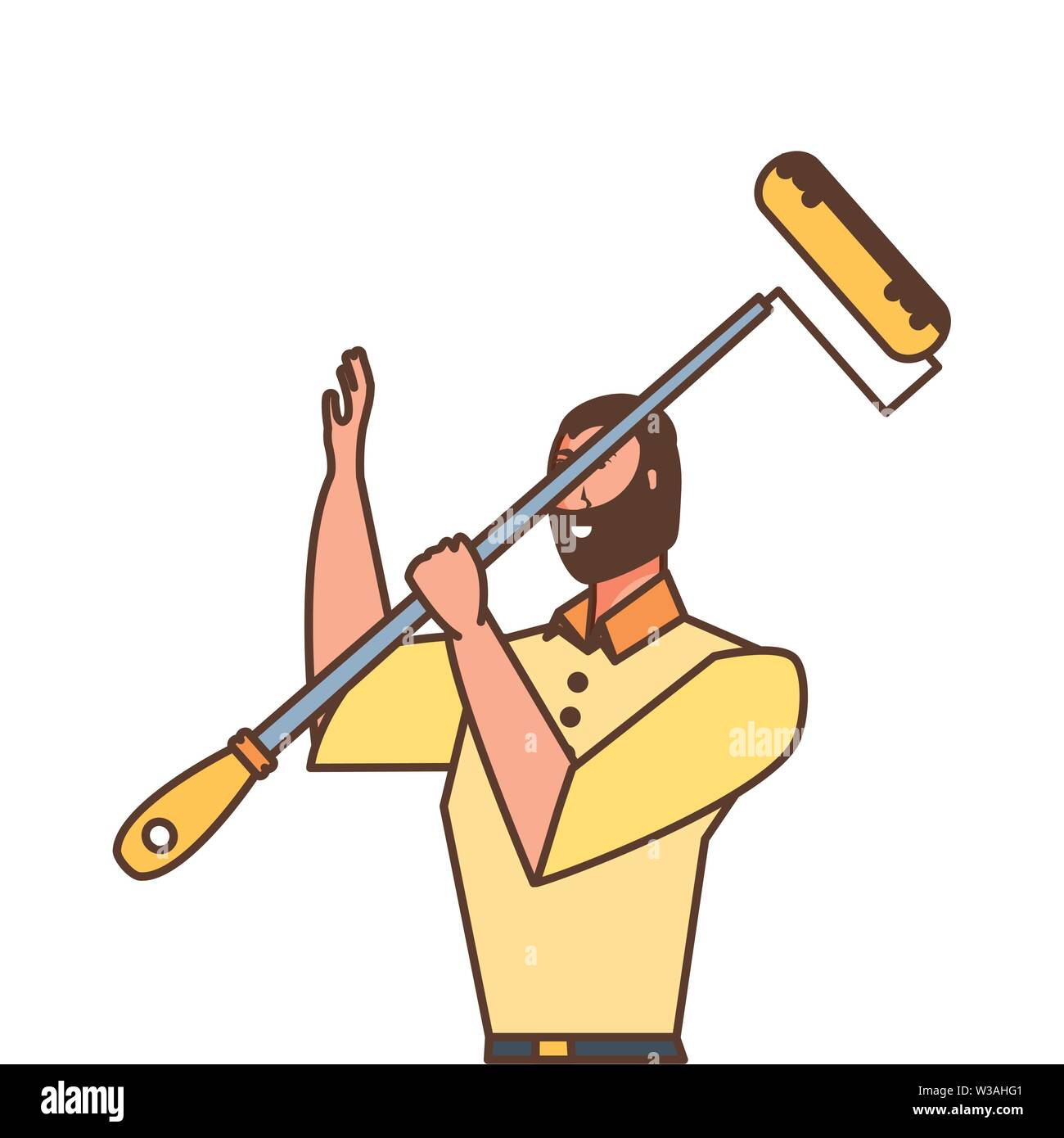worker construction man with roller paint vector illustration design - Stock Image