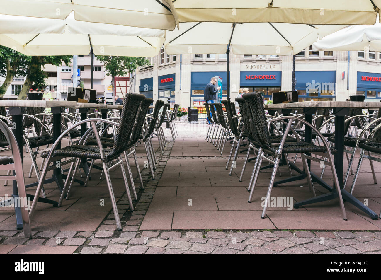 Colmar, France - July 26, 2017. empty cafe in Colmar, Alsace. Beginning of the tourist season - Stock Image