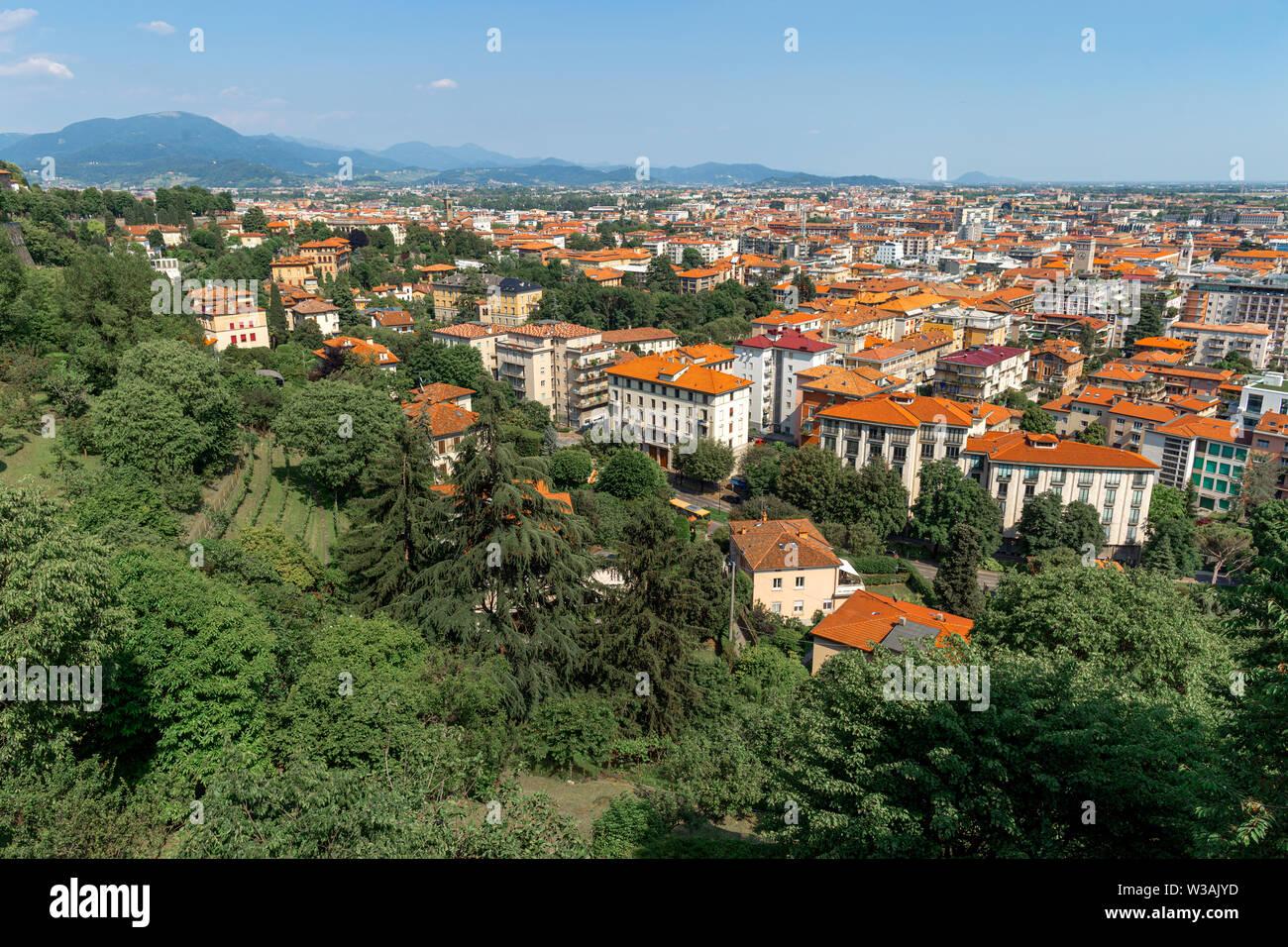 Bergamo, Italy. Beautiful summer cityscape - Stock Image