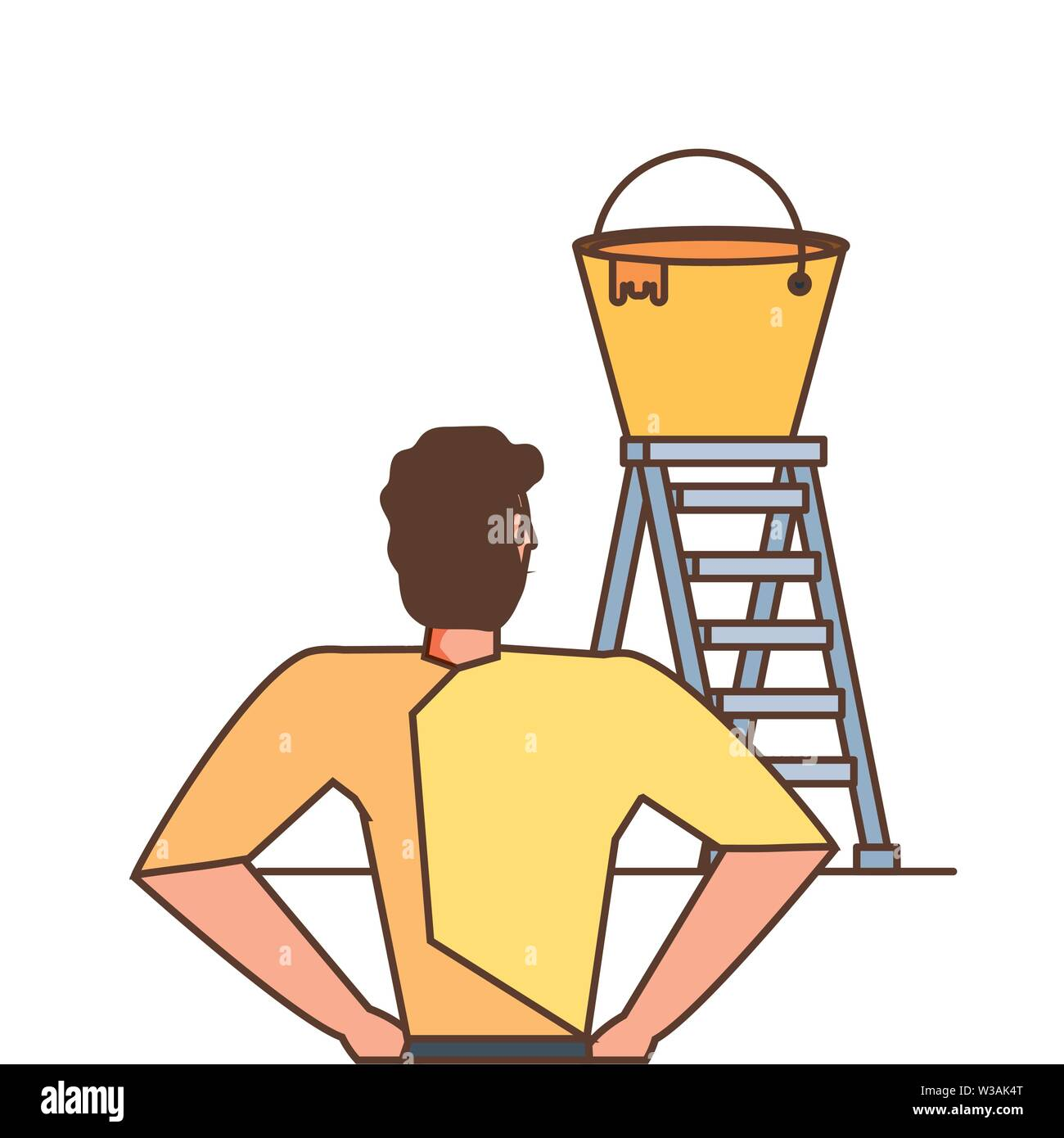 worker construction man with stair and bucket of paint vector illustration design - Stock Image