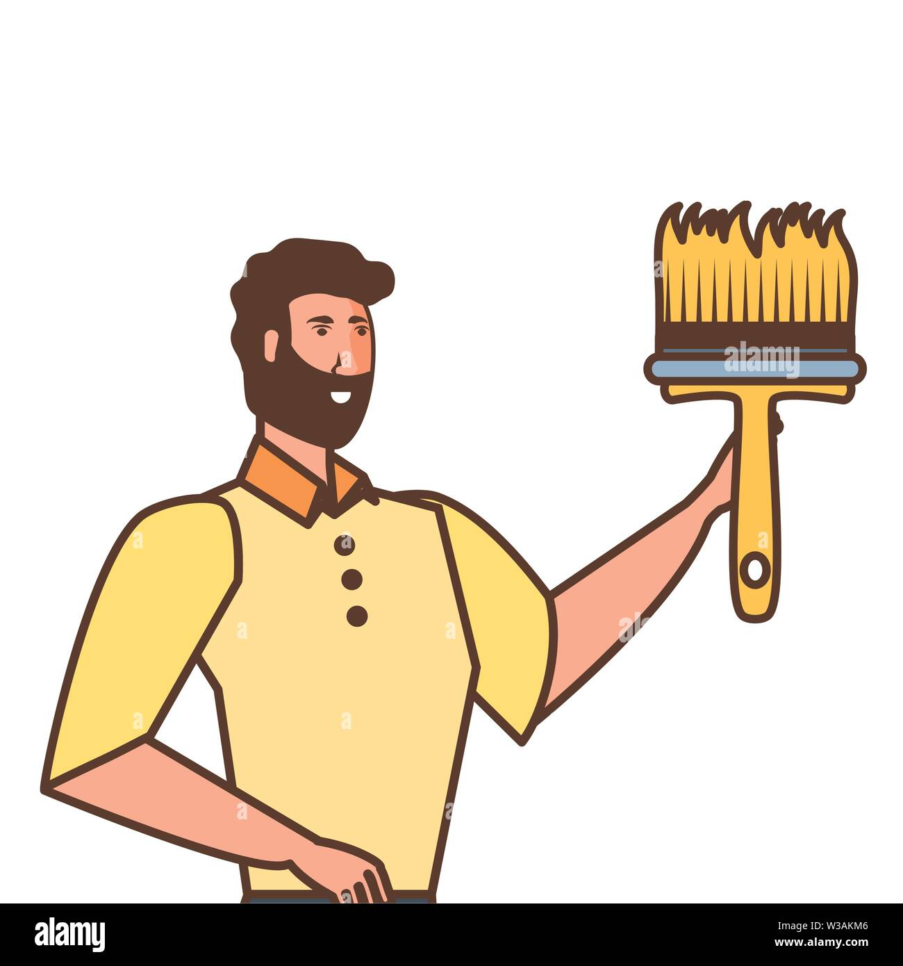 worker construction man with paint brush vector illustration design - Stock Image