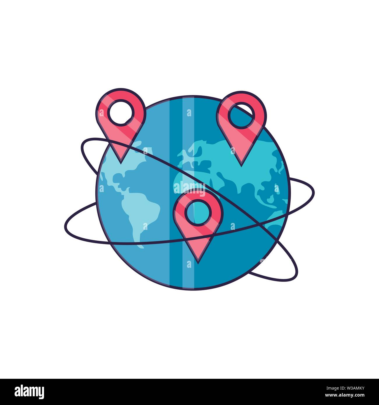 world planet earth with pins location vector illustration design Stock Vector