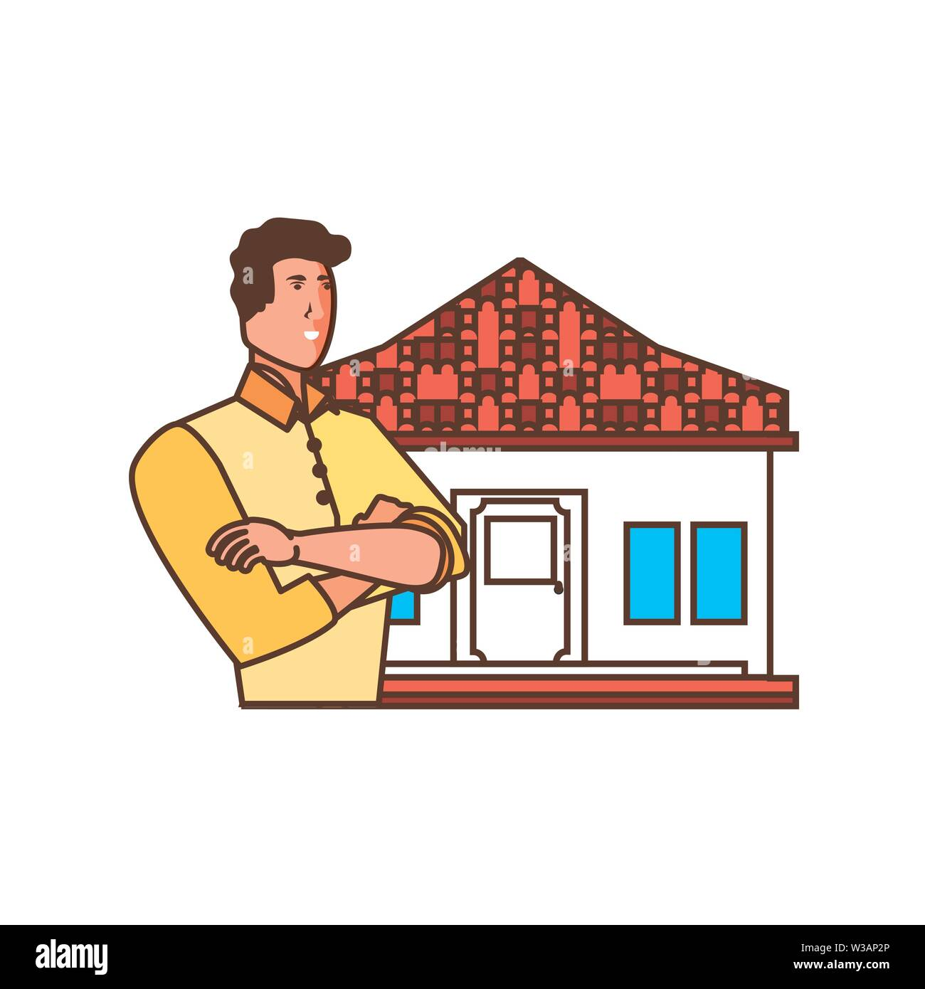 worker construction man with facade house vector illustration design - Stock Image