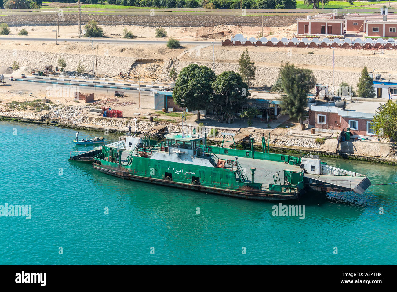 Ismailia, Egypt - November 5, 2017: Sarabum Ferryboat moored to the shore on the Suez Canal near Ismailia, Egypt. - Stock Image