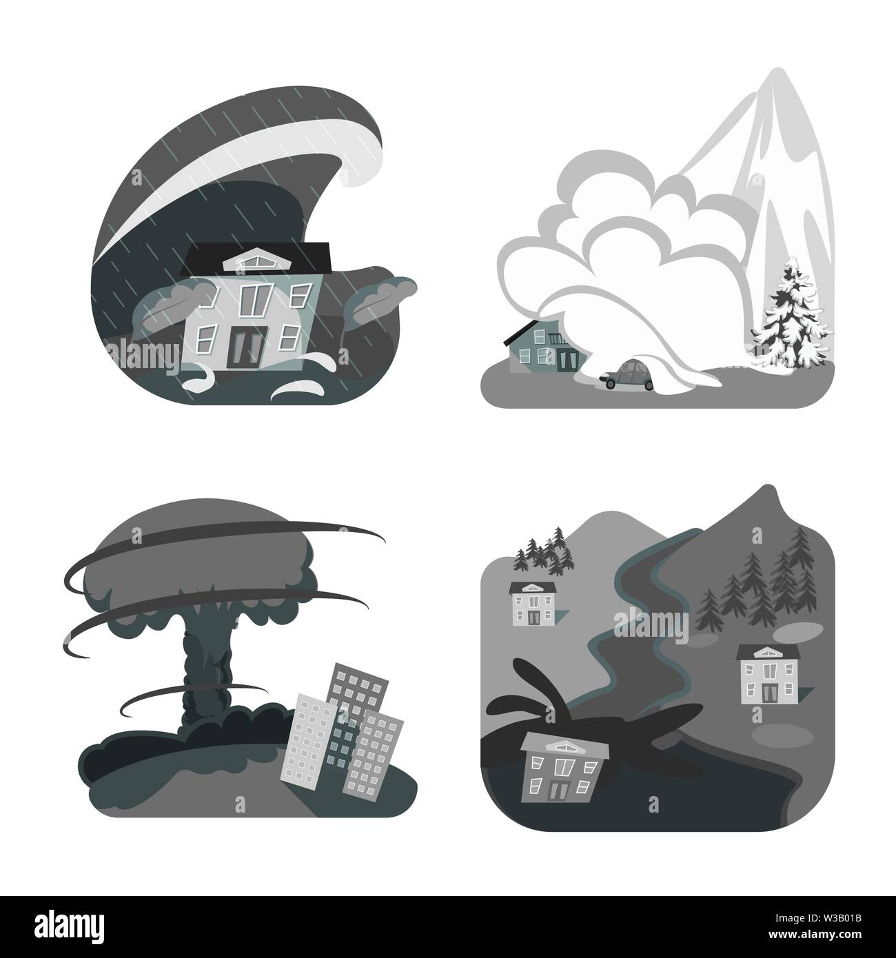 Vector illustration of nature and apocalypse  sign. Collection of nature and environment  vector icon for stock. - Stock Image