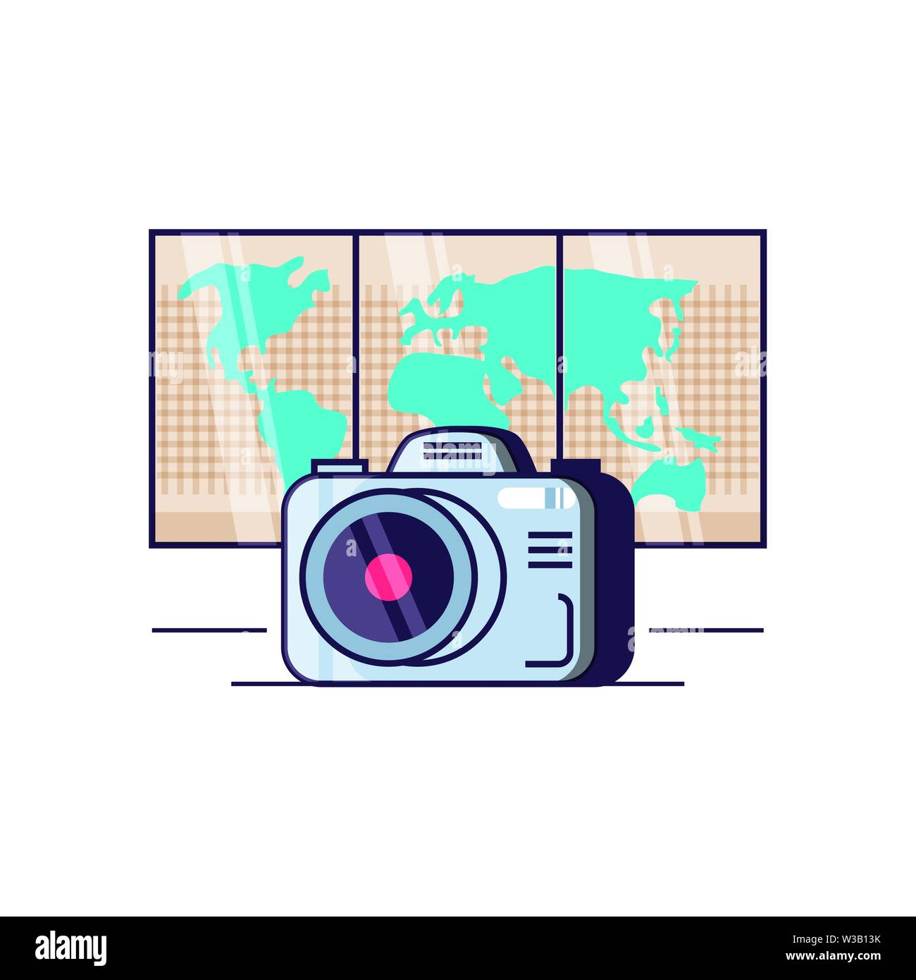 paper map travel guide with camera photographic vector illustration design - Stock Image