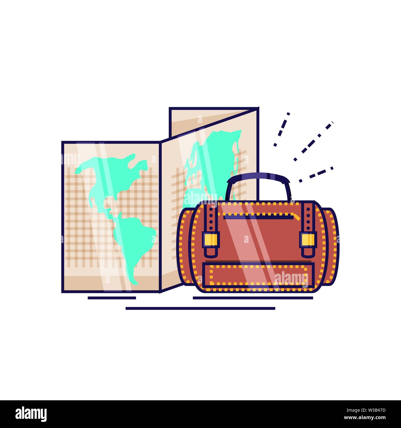 travel suitcase equipment with paper map vector illustration design - Stock Image