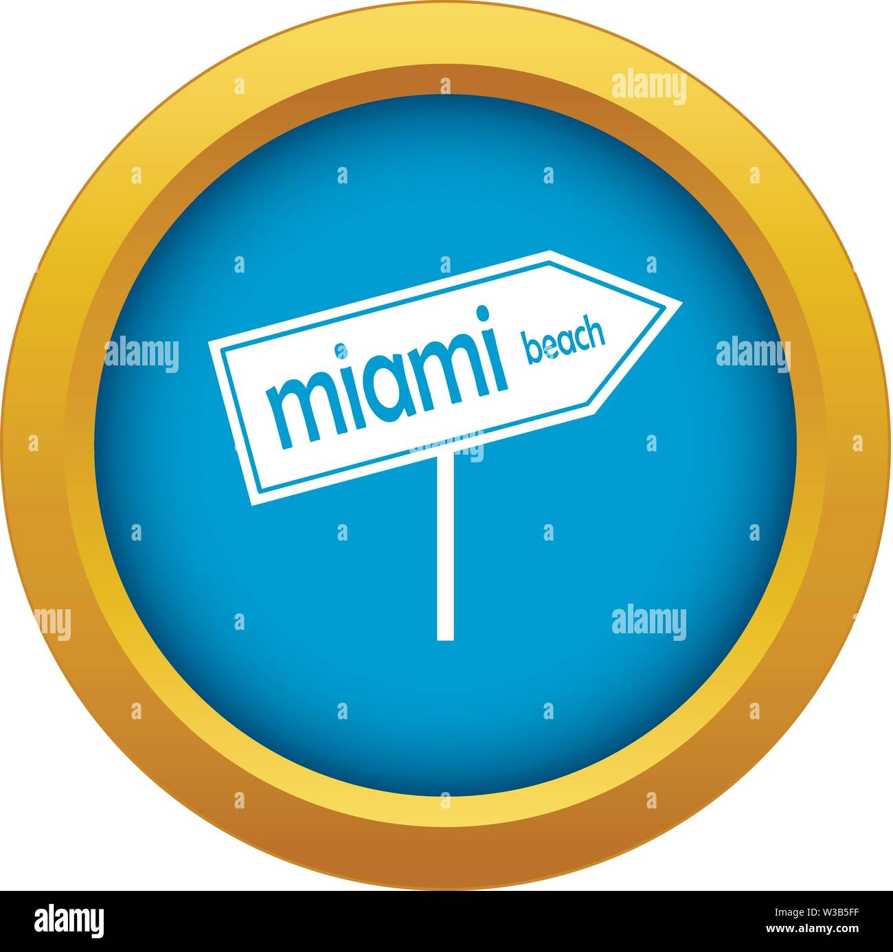 Miami arrow post sign icon blue vector isolated - Stock Image