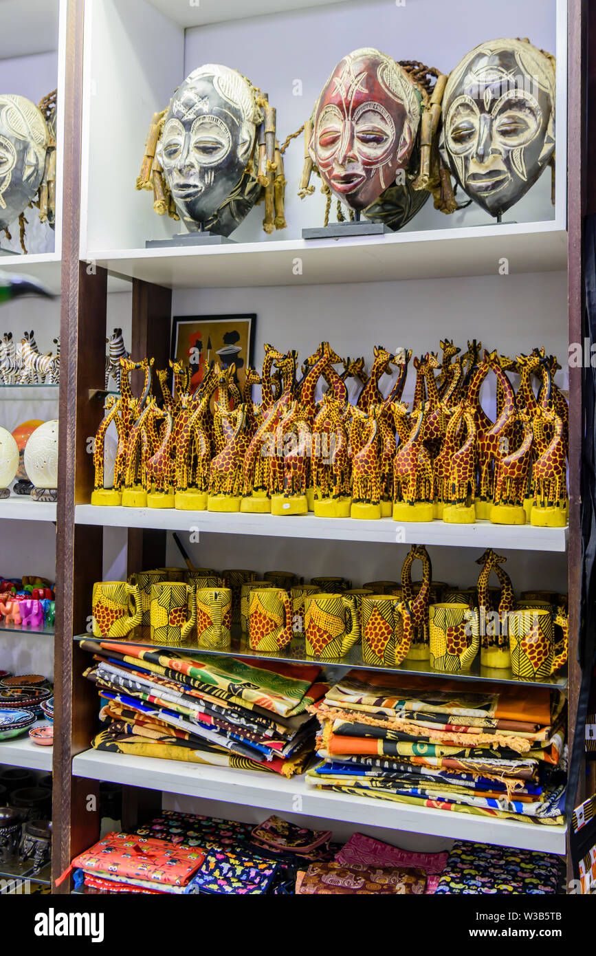 African souvenirs for sale in the departure lounge of Hosea Kutako International Airport, Windhoek, Namibia - Stock Image