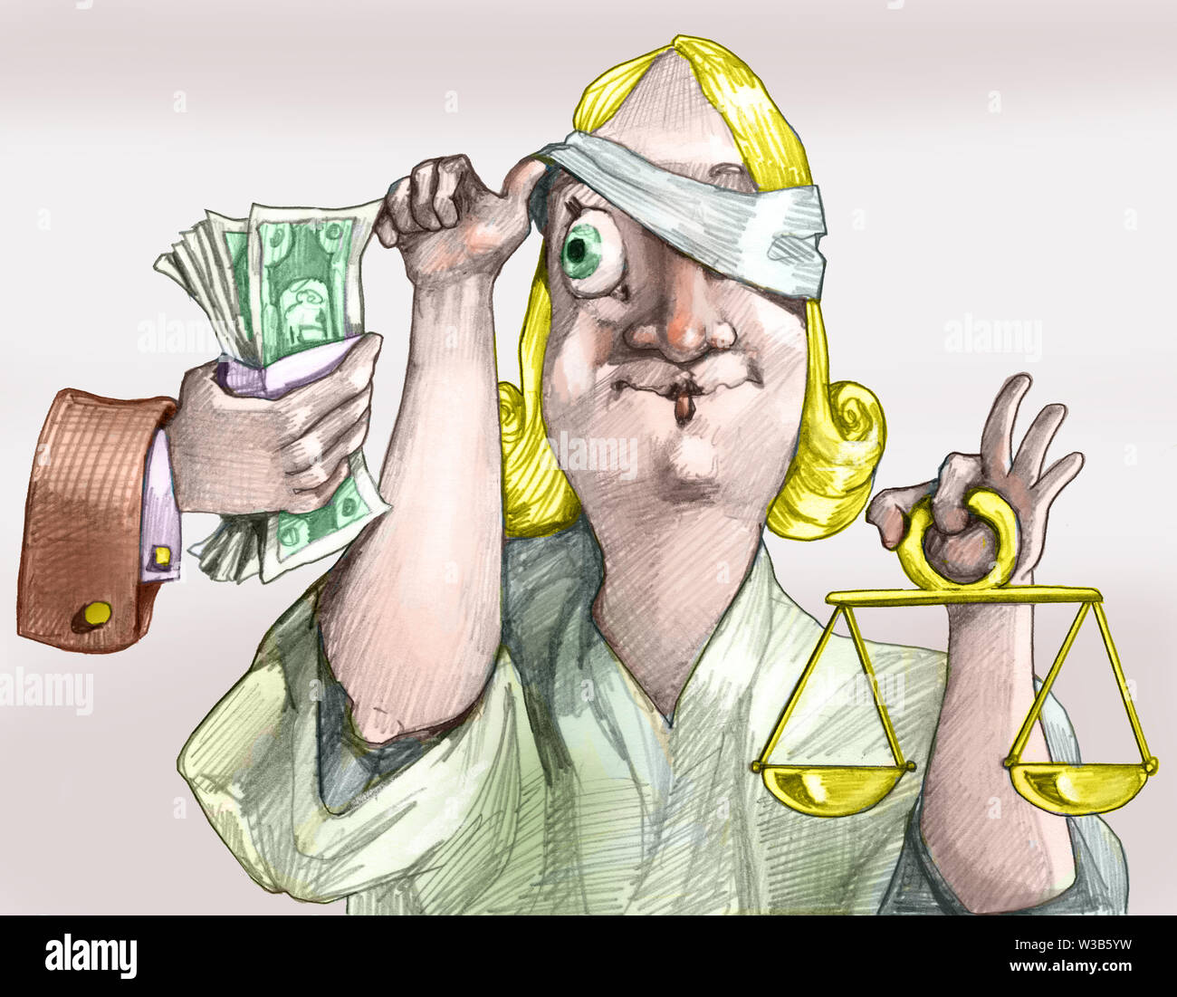 a hand offers money to justice and she moves the bandage to look greedy political cartoon - Stock Image