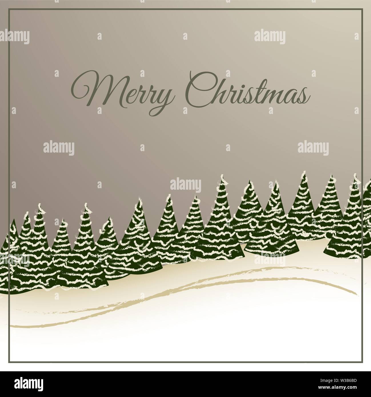 christmas card winter forest on vintage ground Stock Vector