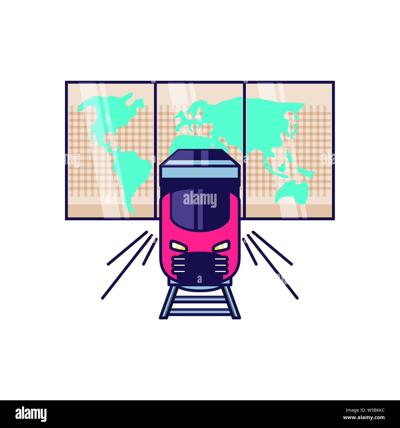 paper map travel guide with train vector illustration design - Stock Image
