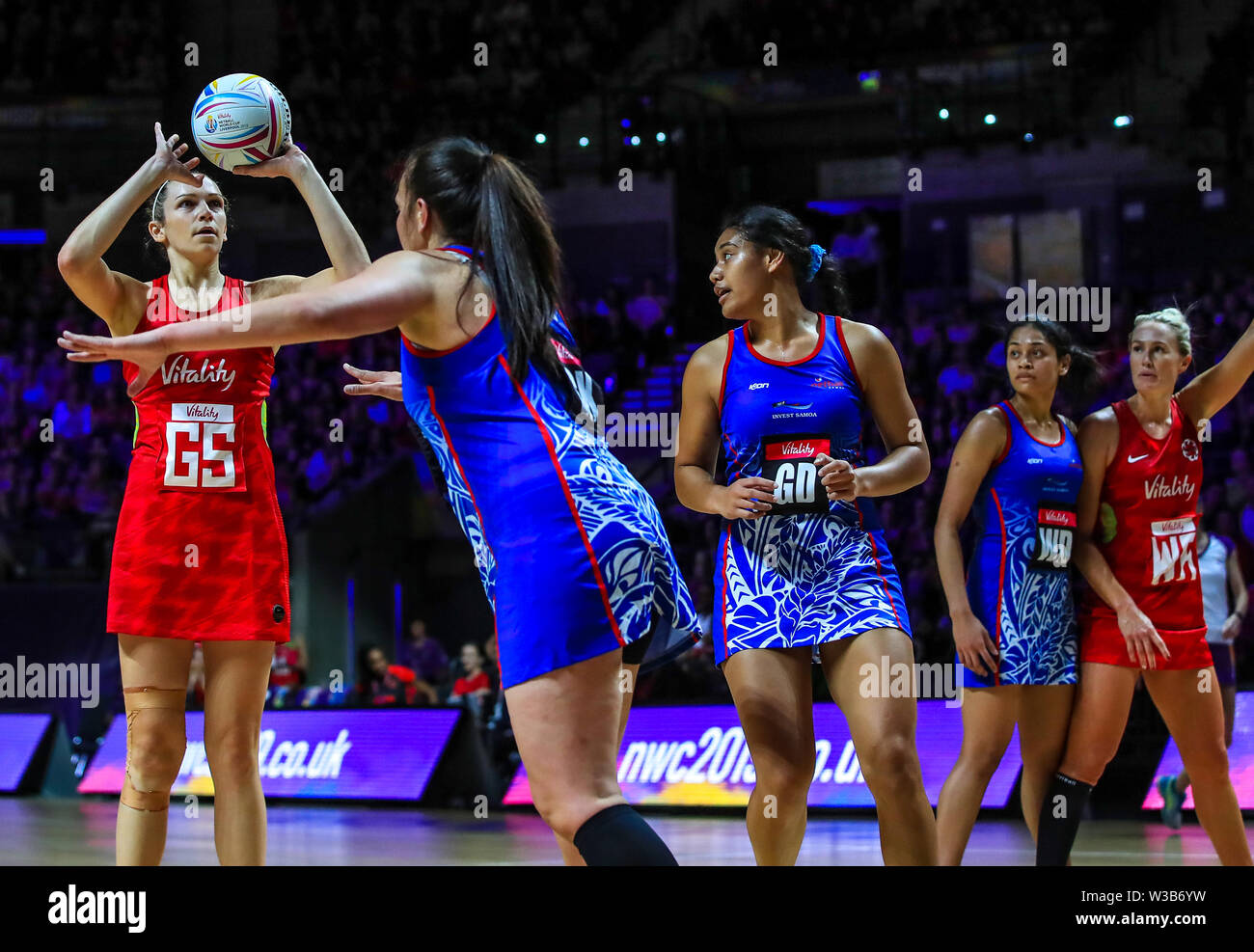 England's Joanne Harten during the Netball World Cup match at the M&S Bank Arena, Liverpool. - Stock Image