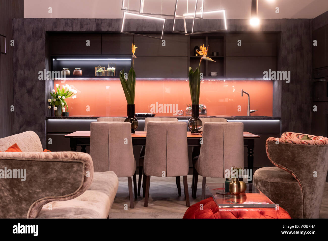A Modern Exclusive Dining Room With Table Chairs Kitchen Counter Decoration In The Foreground Two Armchairs And A Small Glass Table Stock Photo Alamy