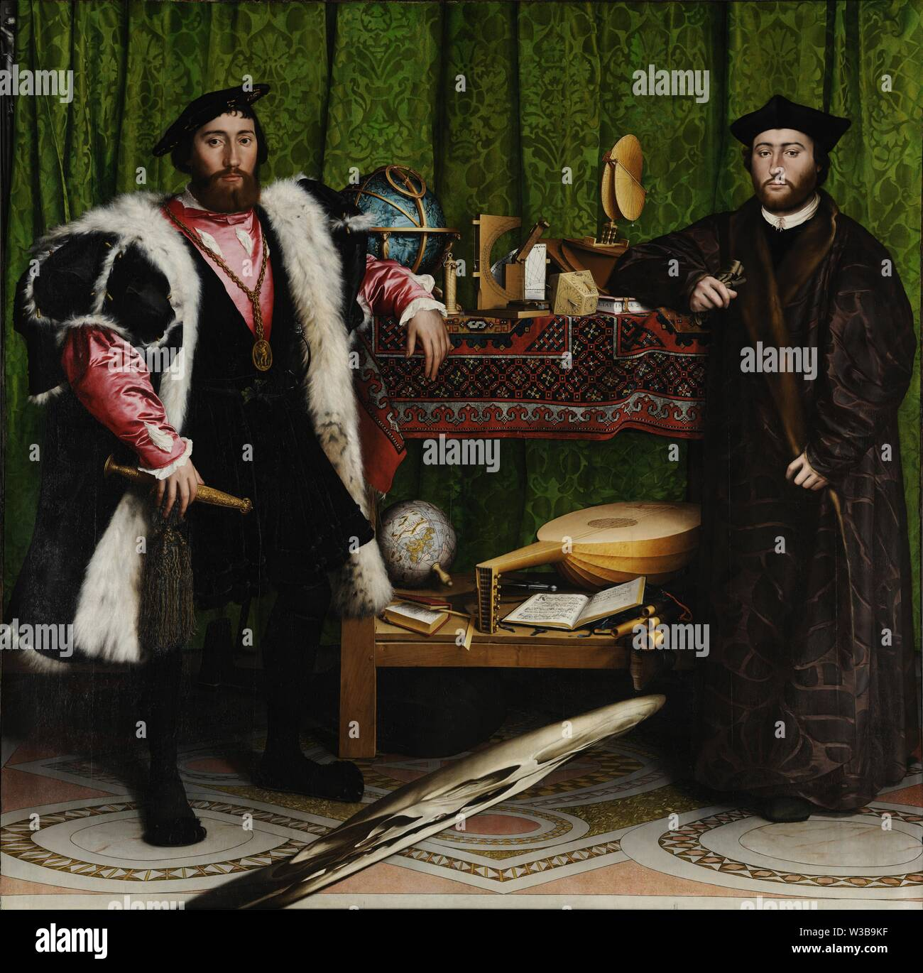 The Ambassadors (1533) painting by Hans Holbein the Younger - Very high resolution and quality image Stock Photo