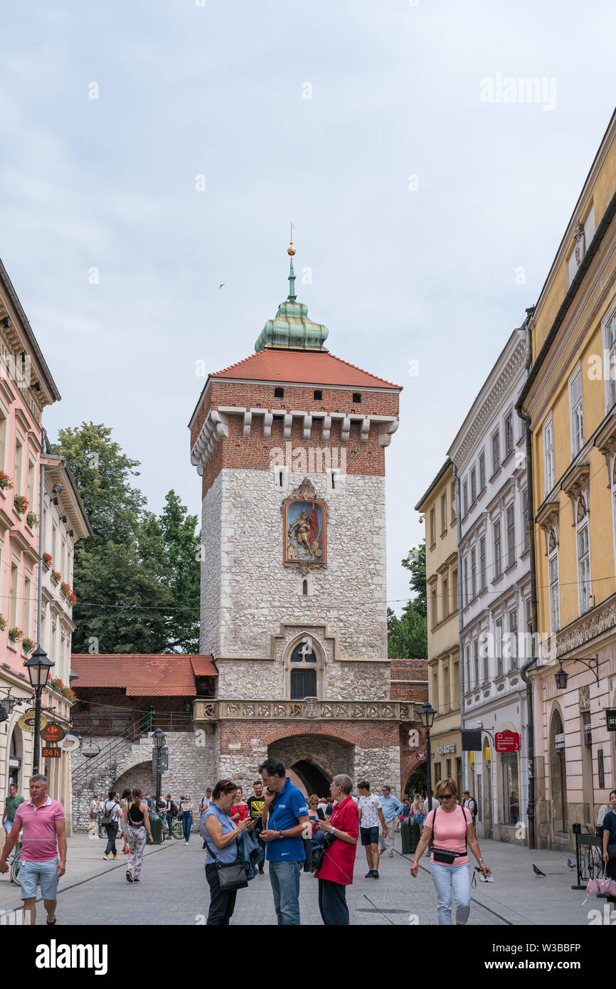 Krakow, Poland - July 2, 2019: Old defense tower near Main Square in Cracow, Poland. - Stock Image