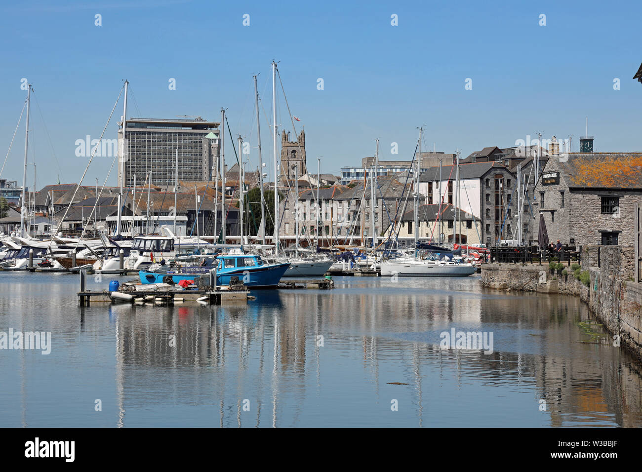 Plymouth Sutton Harbour, inner basin, yachts at rest in a safe haven. Stock Photo