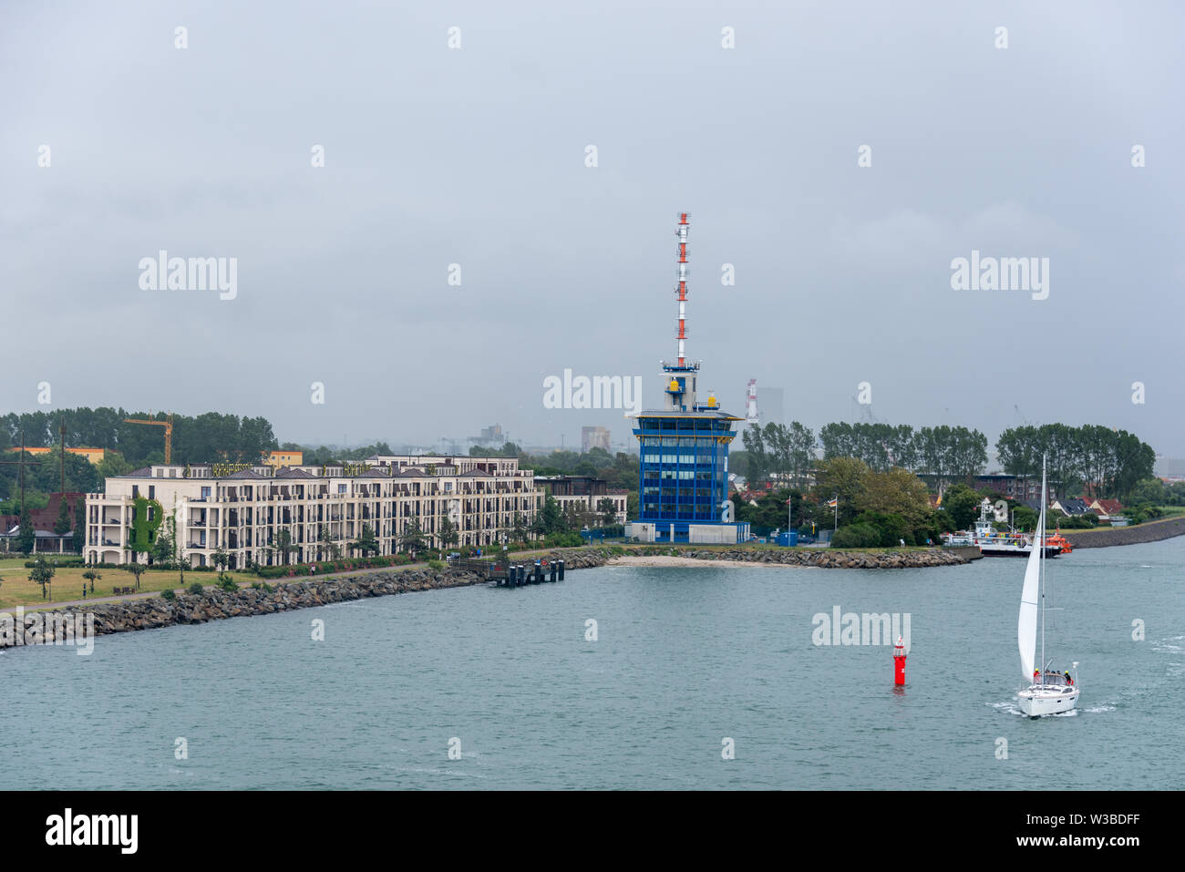 Rostock, Germany - July 7, 2019: View of the marina and the Hotel Hohe Düne in Rostock, Germany. - Stock Image