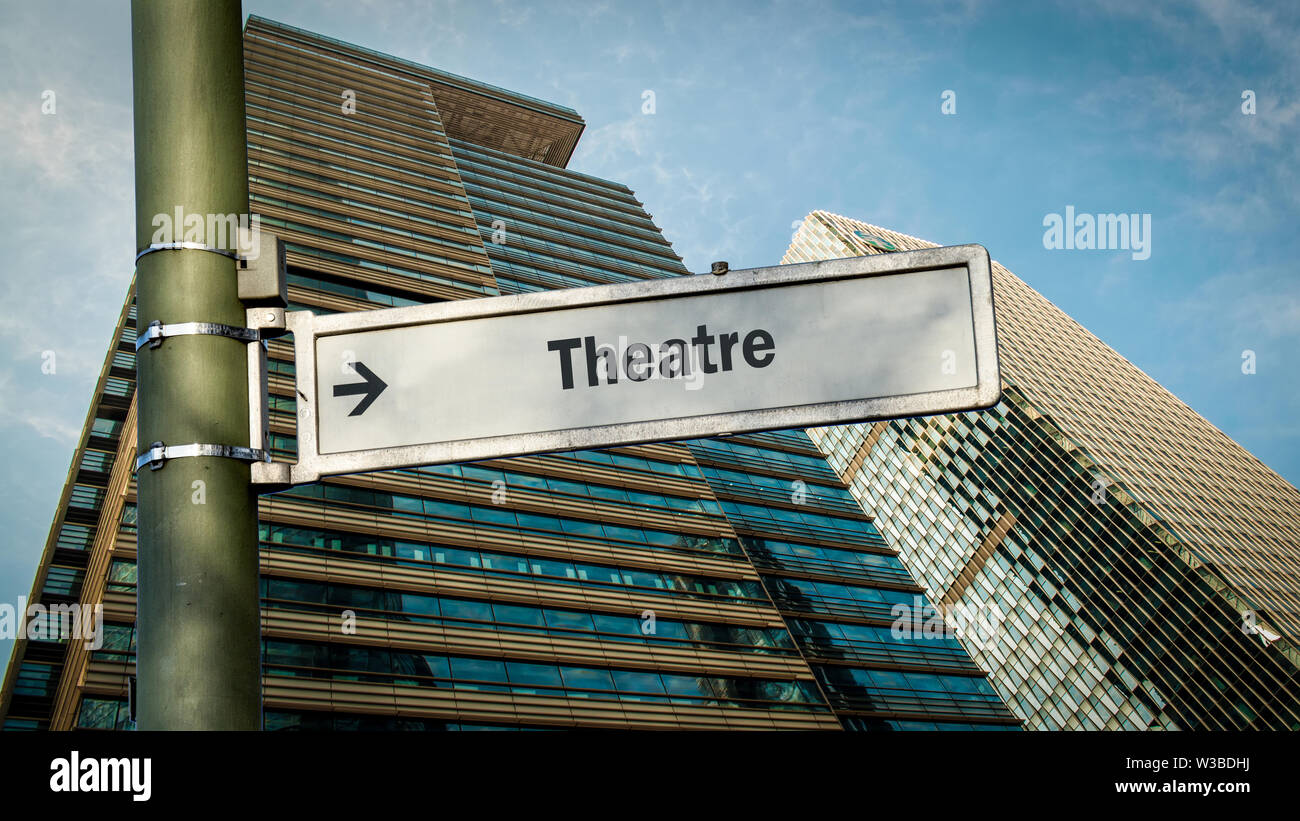 Street Sign the Direction Way to Theatre - Stock Image