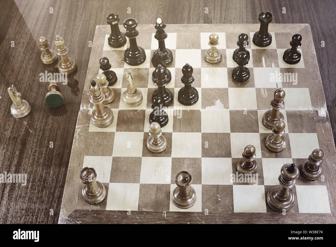 Unique chess match Tal - Geller, International Chess Tournament in Zurich, 1959. White wins. Retro effect - Stock Image