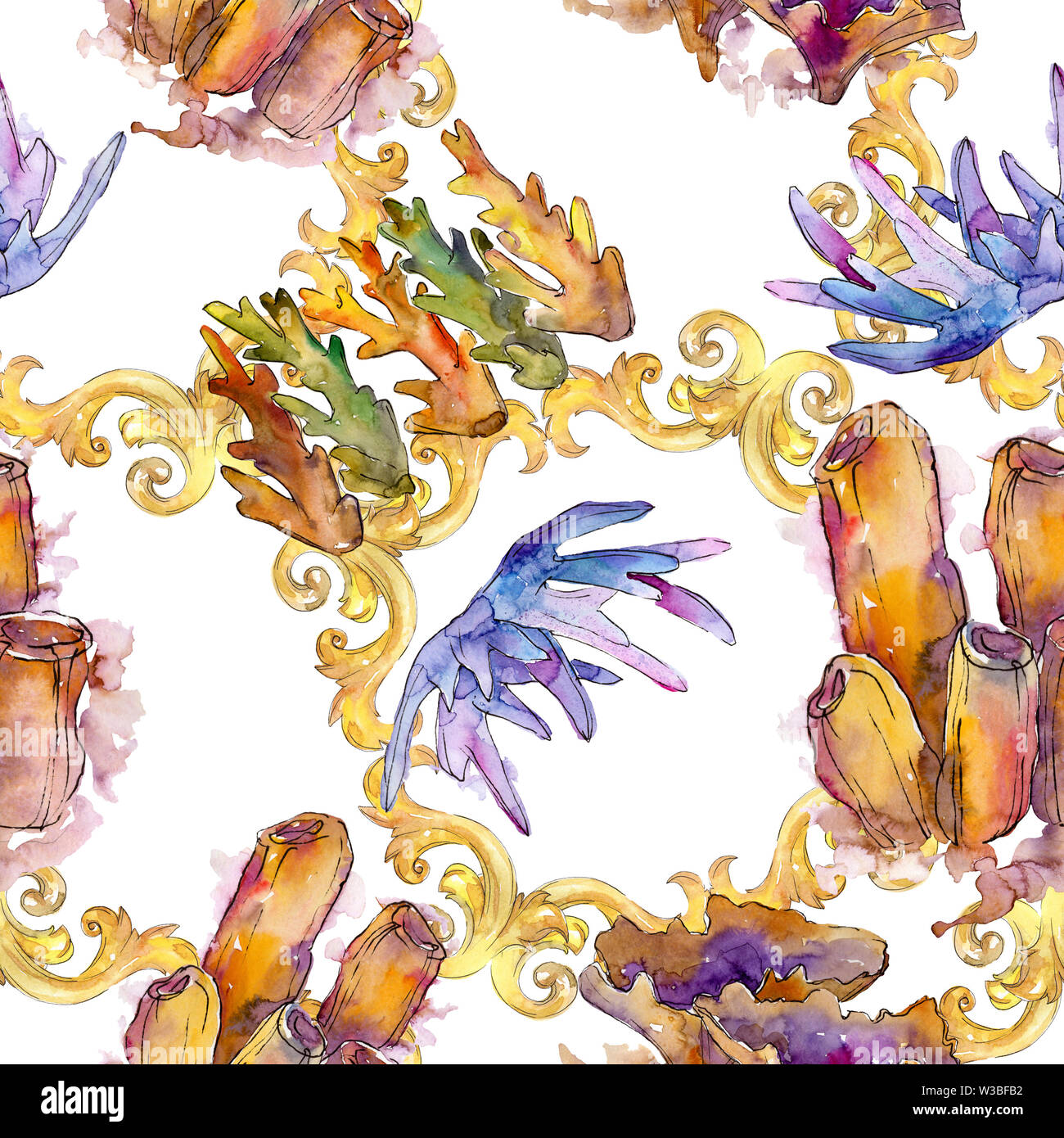 Colorful aquatic underwater nature coral reef. Watercolor illustration set. Seamless background pattern. - Stock Image