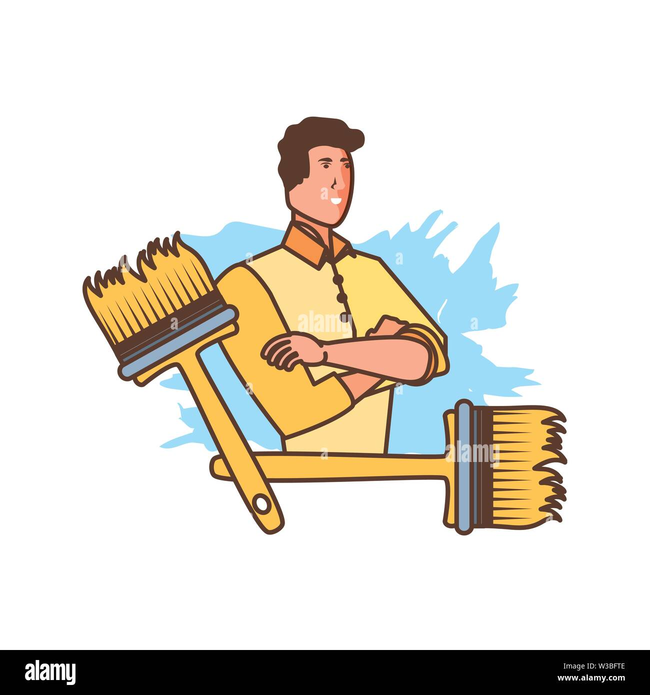 worker construction man with paint brushes vector illustration design - Stock Image