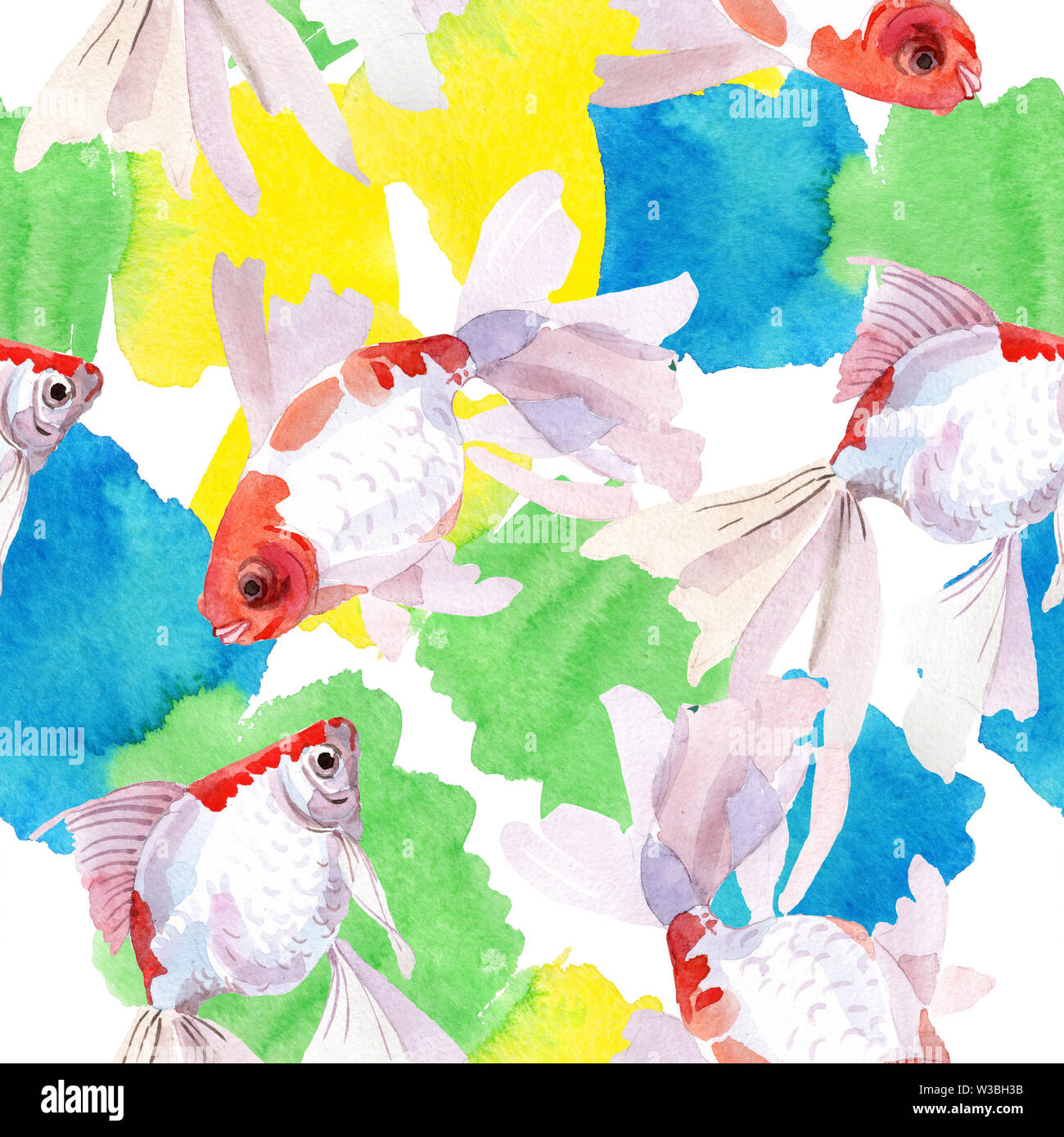 Goldfish aquatic underwater colorful tropical fish set. Watercolor illustration set. Seamless background pattern. - Stock Image
