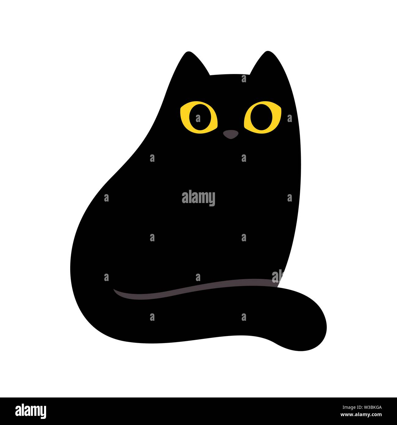 Cartoon Black Cat With Yellow Eyes Simple And Minimal Sitting Cat Drawing Cute Vector Illustration Stock Vector Image Art Alamy