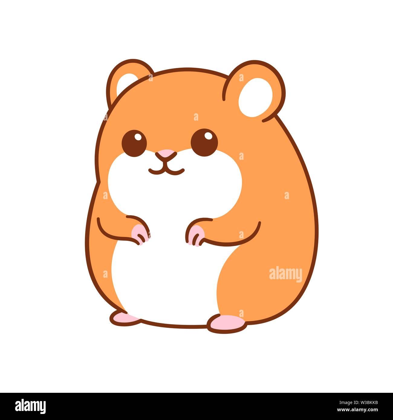 Cute kawaii hamster drawing, funny cartoon pet vector clip ...