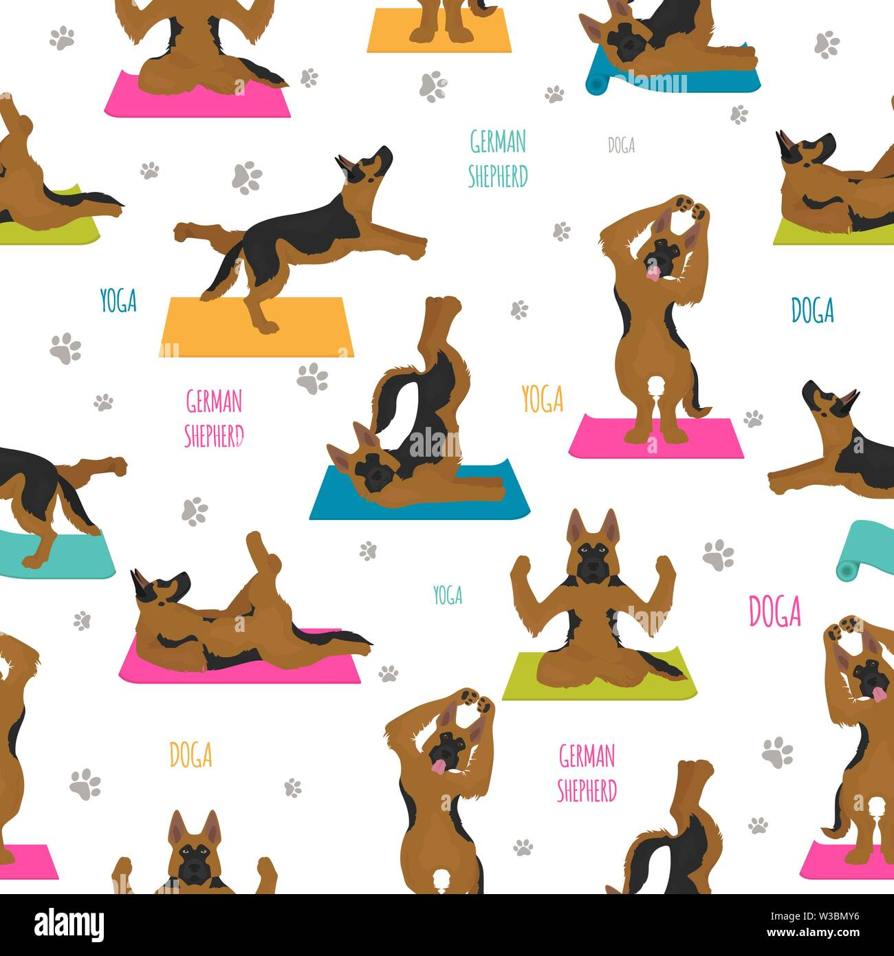 Yoga dogs poses and exercises. German shepherd seamless pattern. Vector illustration - Stock Vector