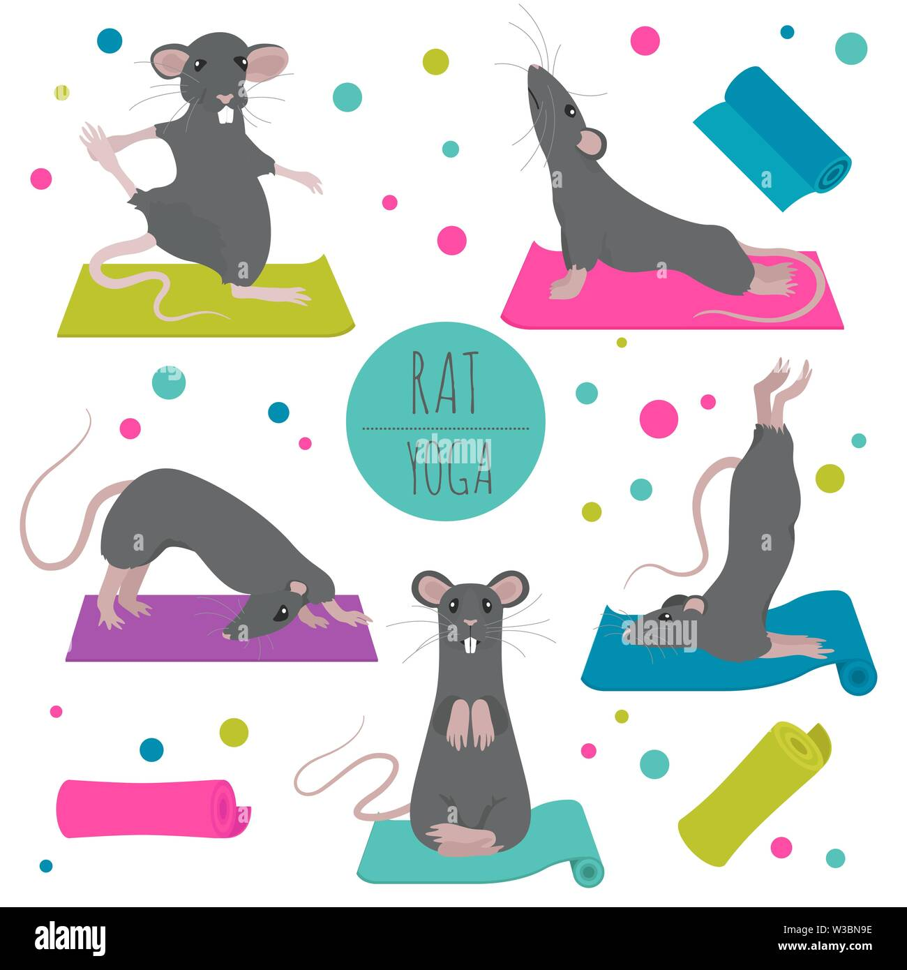 Rat Yoga Poses And Exercises Cute Cartoon Clipart Set Vector Illustration Stock Vector Image Art Alamy