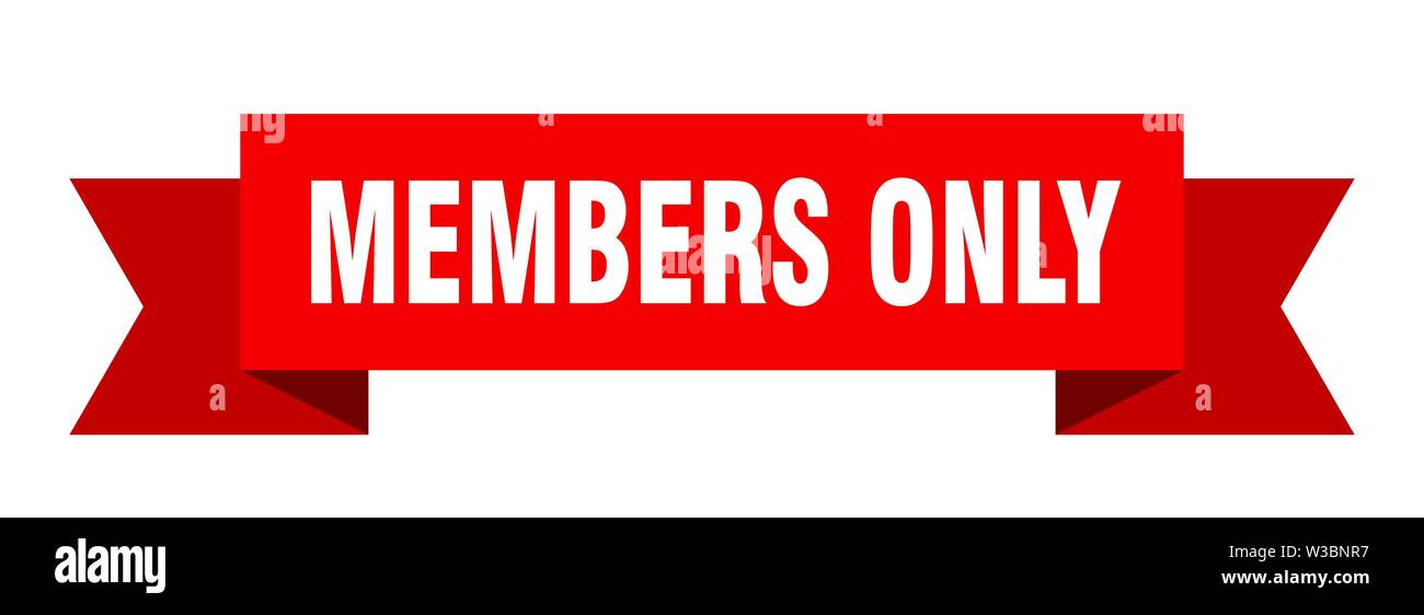 members only ribbon. members only isolated sign. members only banner - Stock Image