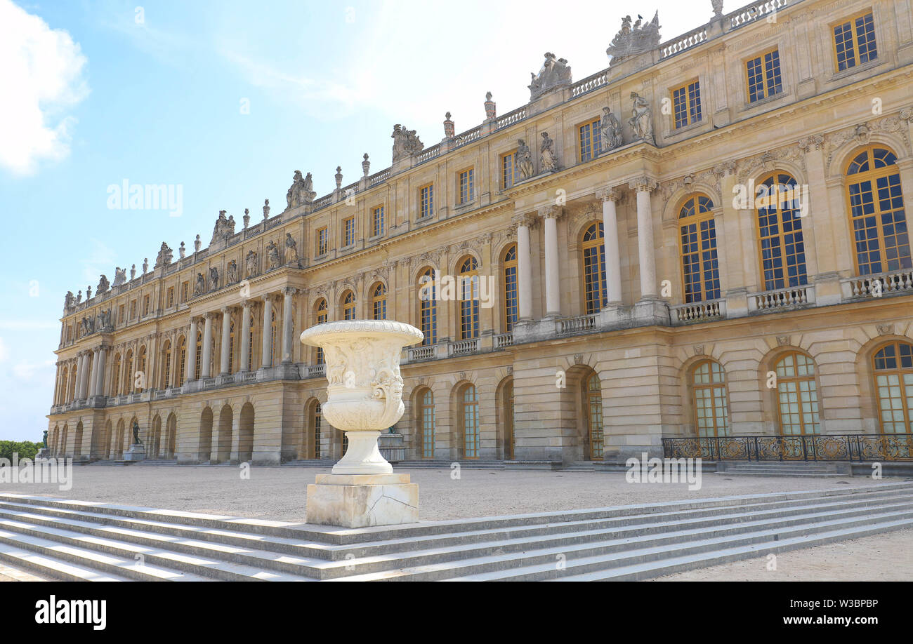 Outside view of Famous palace Versailles. The Palace Versailles was a royal castle. - Stock Image