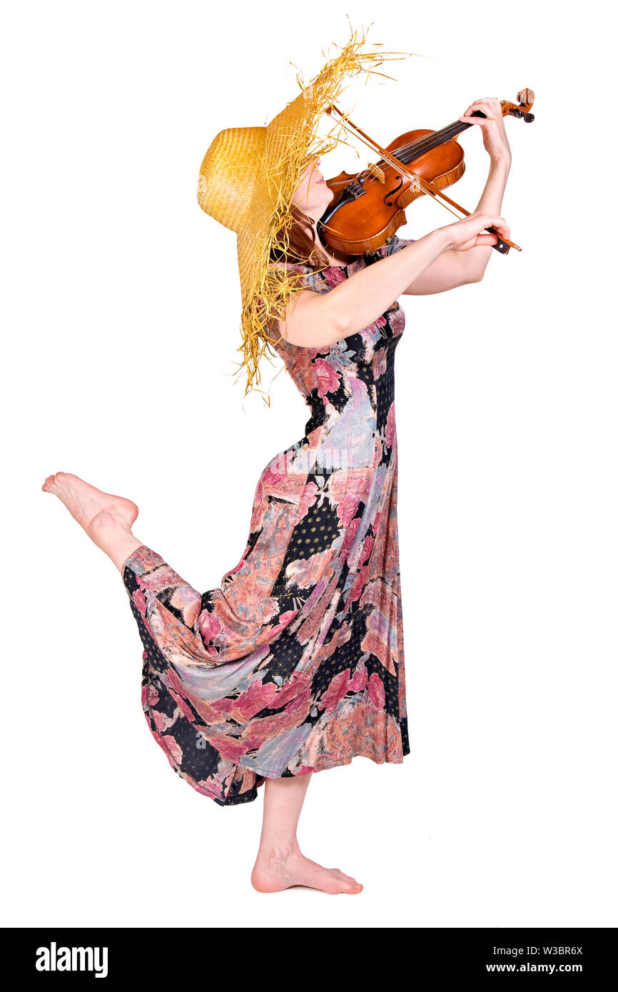 young woman plays the viola - Stock Image
