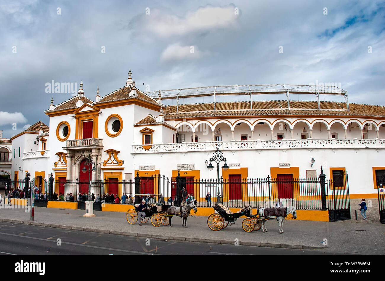 The bull ring in Seville, Spain (Plaza de toros de la Real Maestranza de Caballería de Sevilla) - Stock Image