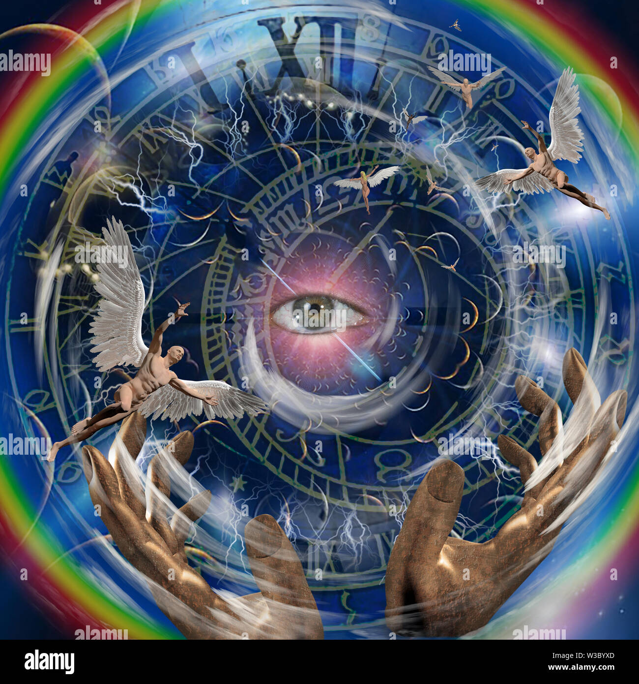 Angels and eye in endless dimensions - Stock Image