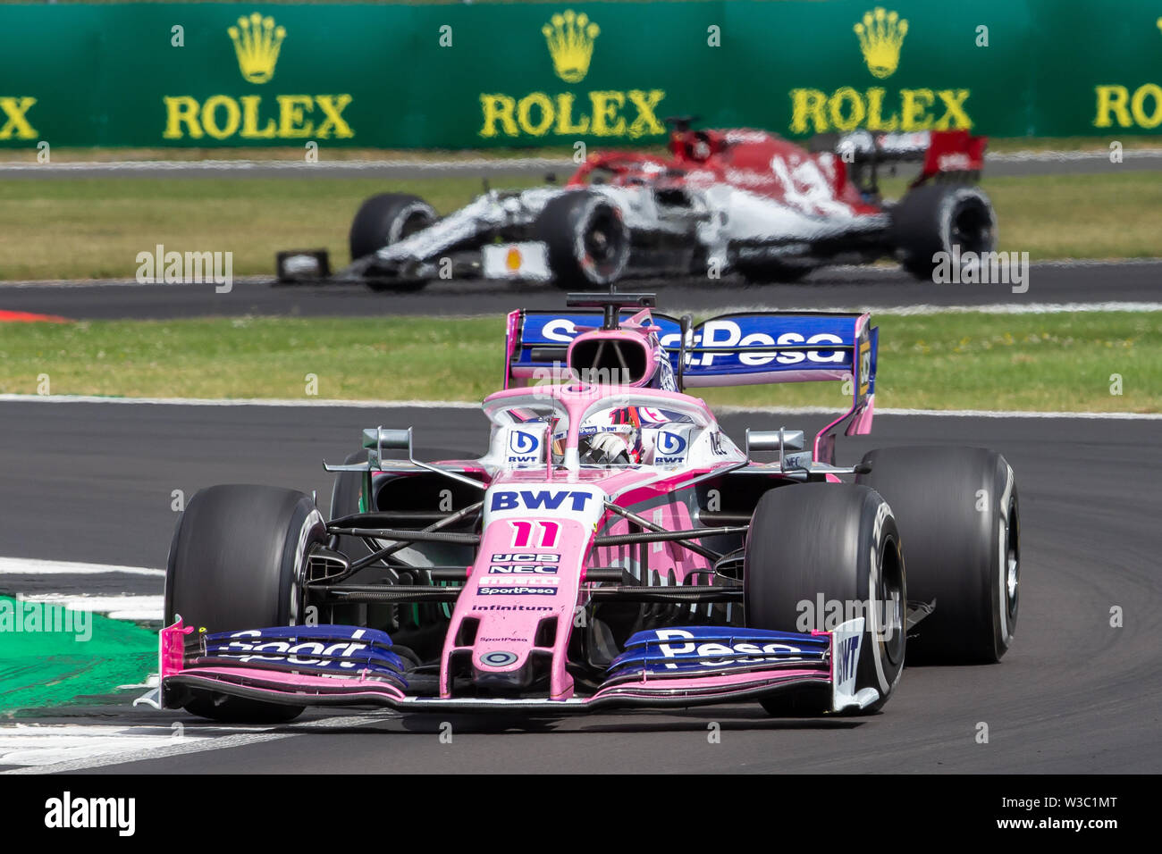Silverstone, UK. 14th July 2019. FIA F1 Grand Prix of Britain, Race Day; Sergio Perez driving his SportPesa Racing Point F1 Team RP19 Credit: Action Plus Sports Images/Alamy Live News Stock Photo