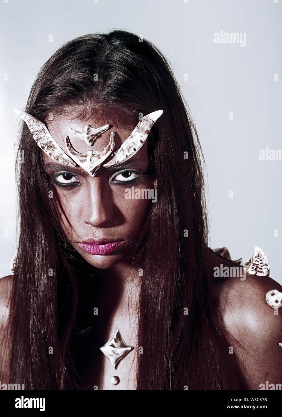 Girl Fantasy Style Makeup. Halloween Ideas Concept. Woman ...